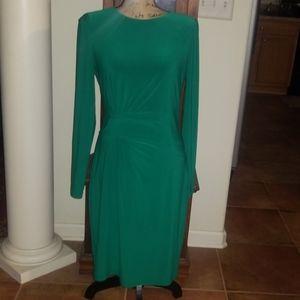 Ralph Lauren Sheath Green Long Sleeves Dress Sz. 8